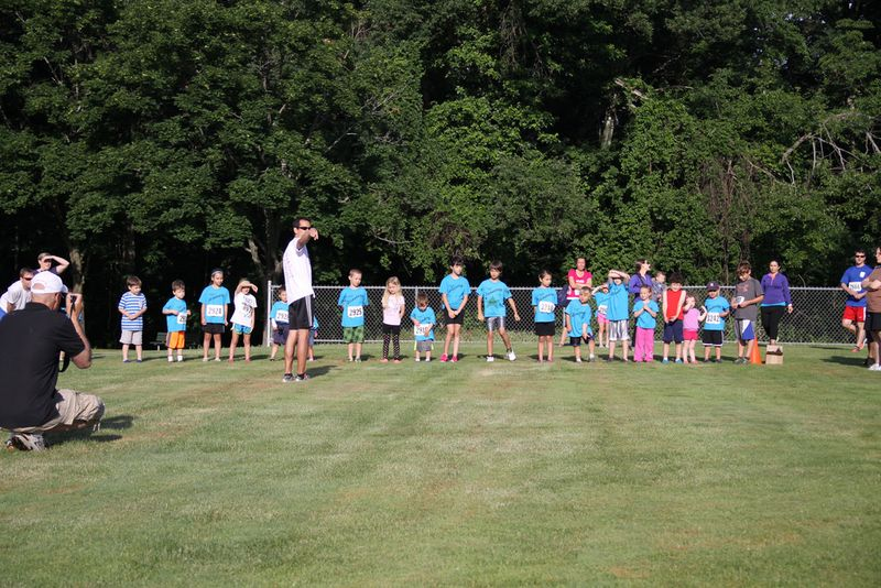 Mike directing kids race, 6-22-14
